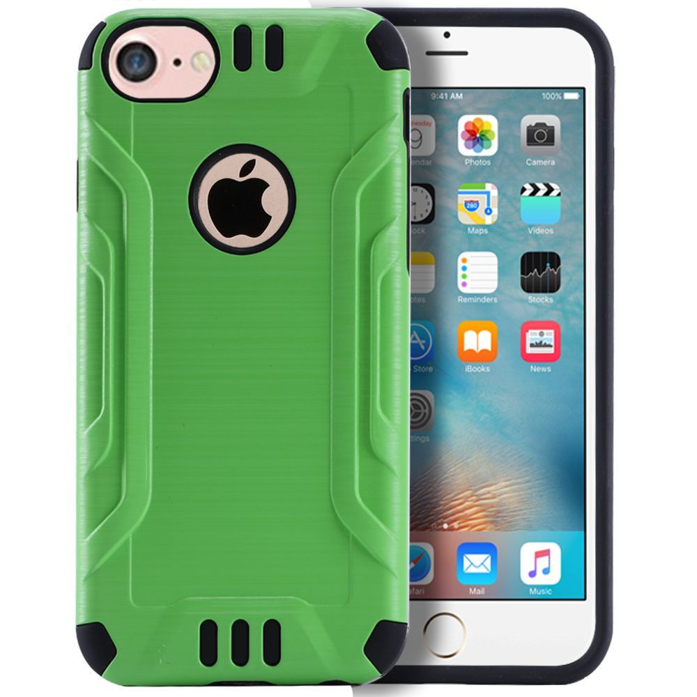 Apple iPhone 7 -  Brushed Metal Design Combat Hybrid Rugged Case, Neon Green