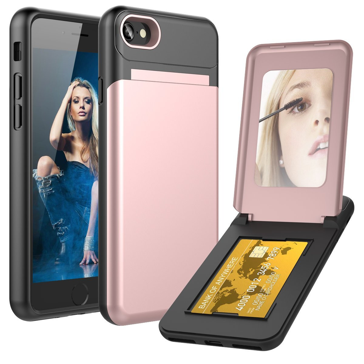 Apple iPhone 7 -  Hard Phone Case with Hidden Mirror and Card Holder Compartment, Rose Gold/Black