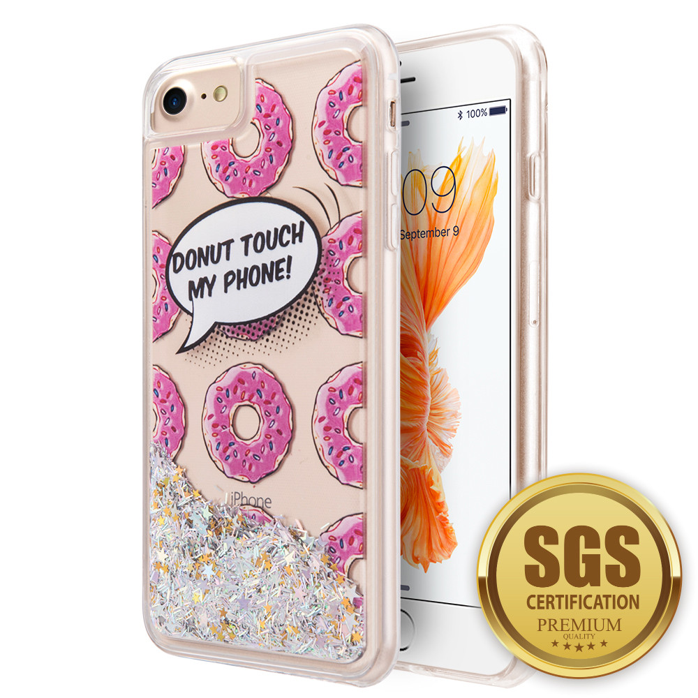Apple iPhone 7 -  Donut Touch my Phone Printed Liquid Waterfall Quicksand Case, Multi-Color
