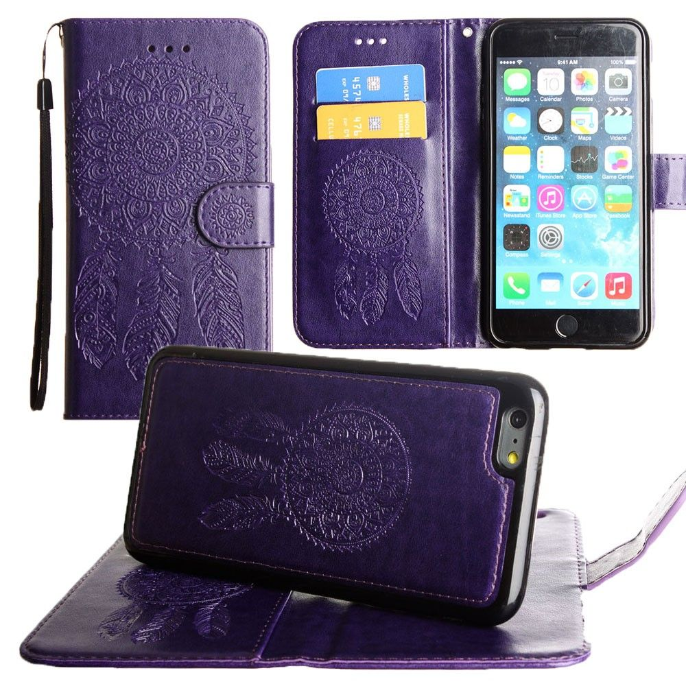 Apple iPhone 7 -  Embossed Dream Catcher Design Wallet Case with Detachable Matching Case and Wristlet, Purple