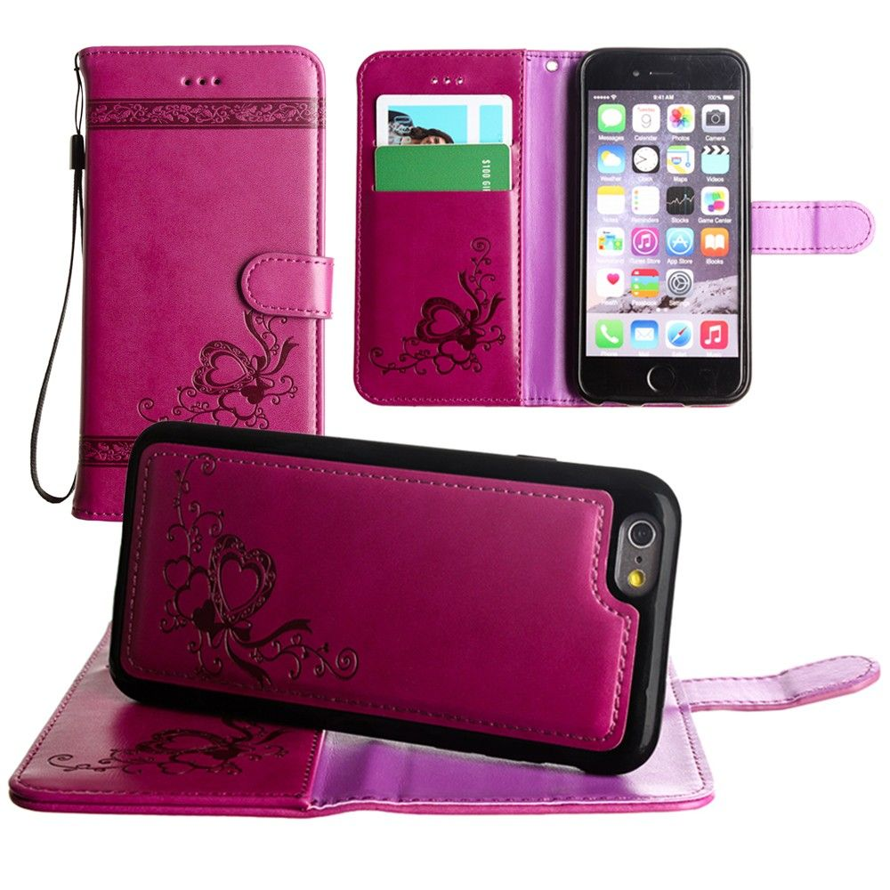 Apple iPhone 7 -  Embossed heart vine design wallet case with detachable matching case, Fuchsia