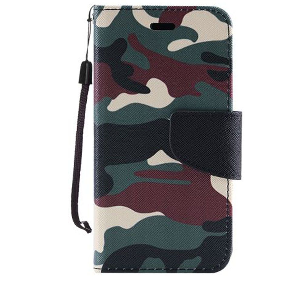 Apple iPhone 7 -  Camouflage Design Folding Wallet Case, Green/Black