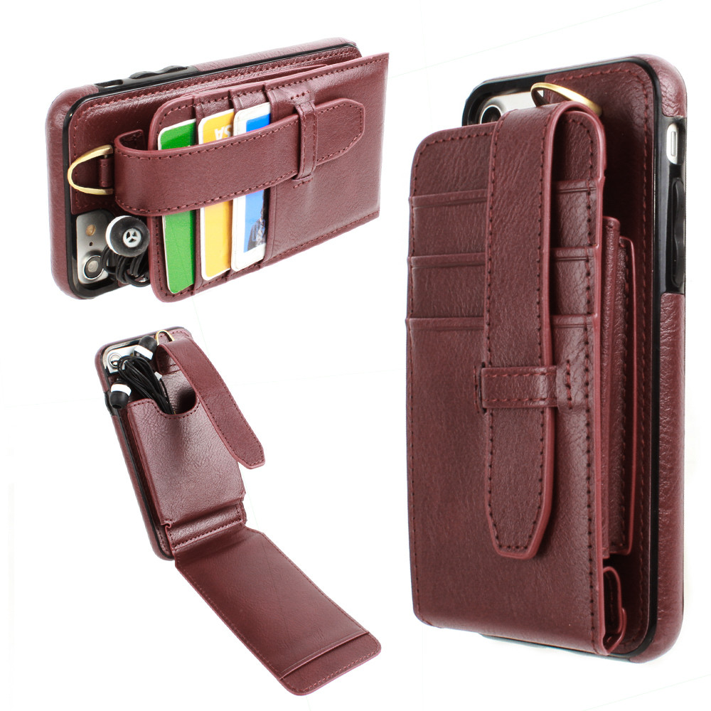 Apple iPhone 7 -  Faux Leather Wallet Case with Card Pockets and Strap, Maroon