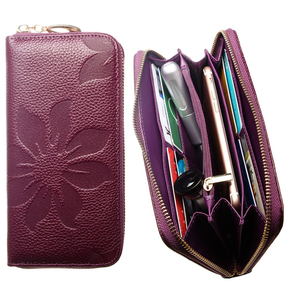 Apple iPhone 7 -  Genuine Leather Embossed Flower Design Clutch, Purple