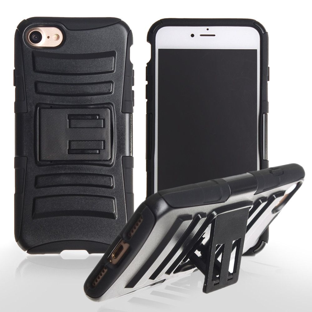 Apple iPhone 7 -  My.Carbon 3-in-1 Rugged Case with Belt Clip Holster, Black