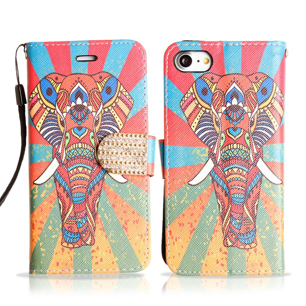 Apple iPhone 7 -  Colorful Exotic Elephant Shimmering Folding Phone Wallet, Multi-color