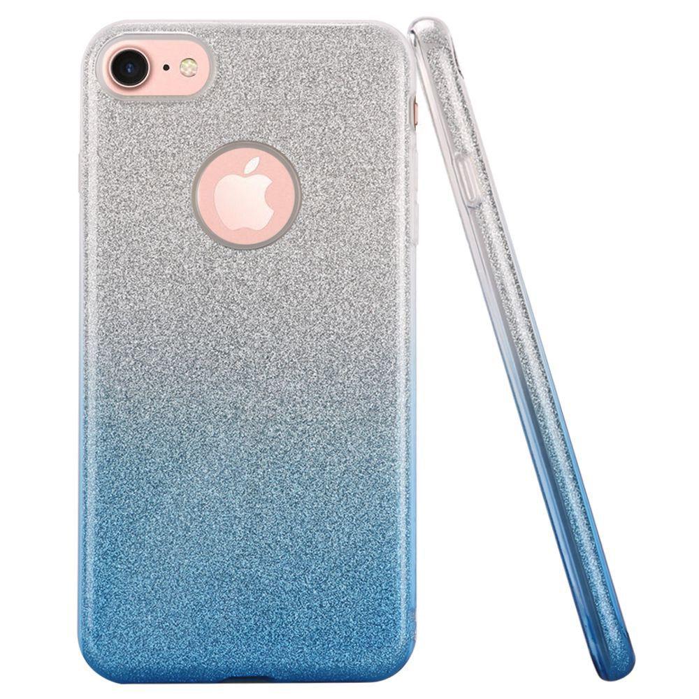 Apple iPhone 7 - Two Tone TPU Glitter Case, Blue/Silver