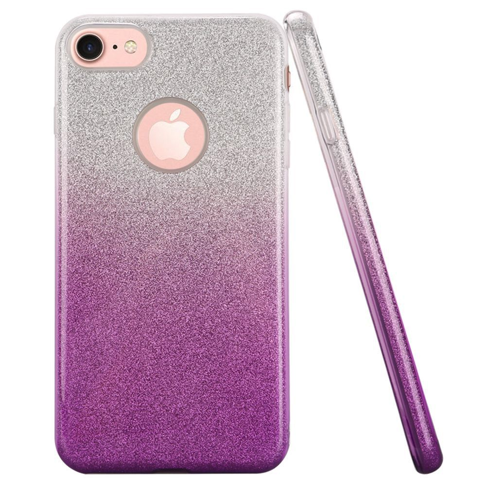 Apple iPhone 7 - Two Tone TPU Glitter Case, Purple/Silver
