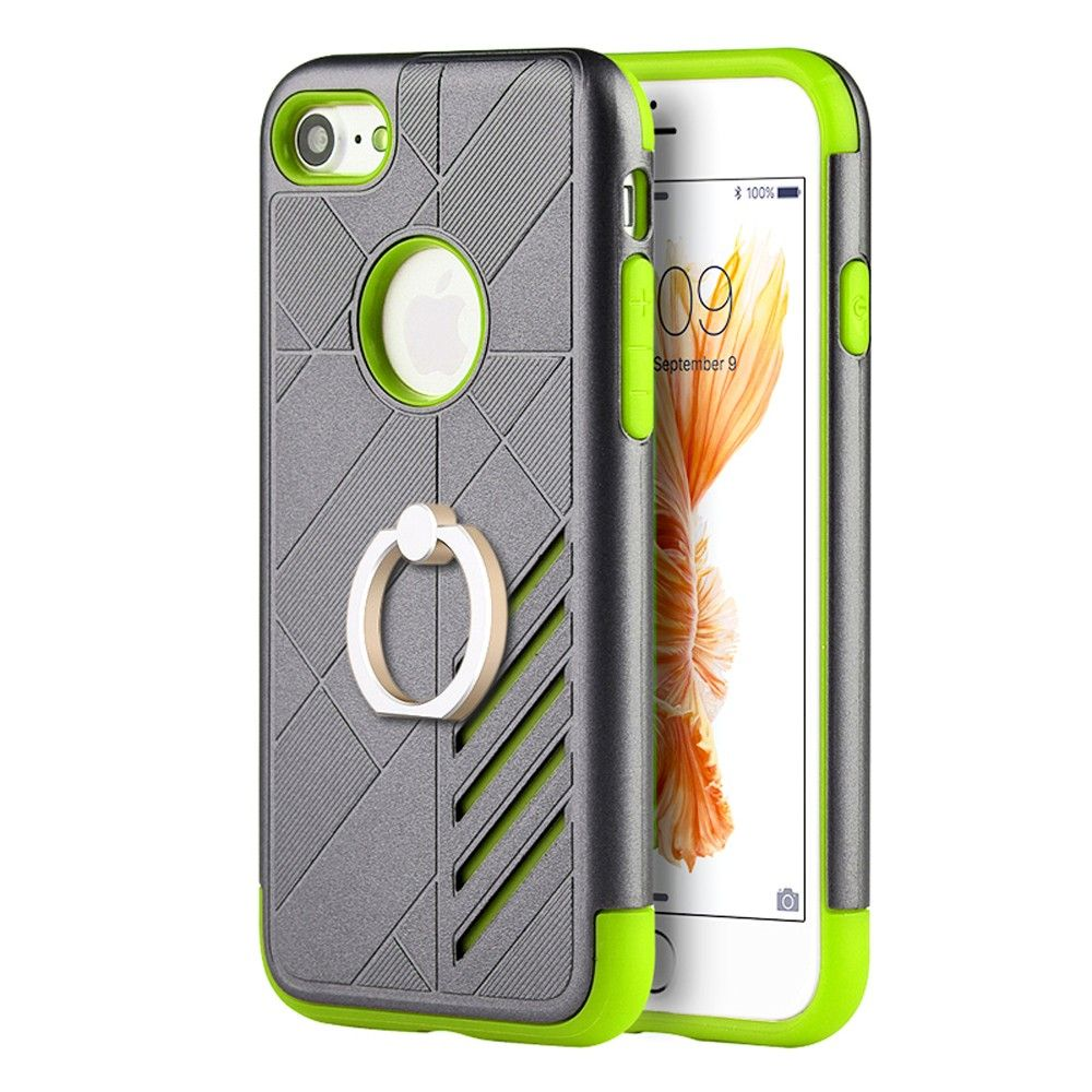 Apple iPhone 7 - Hybrid Tough Rubber Case with Ring, Gray/Green