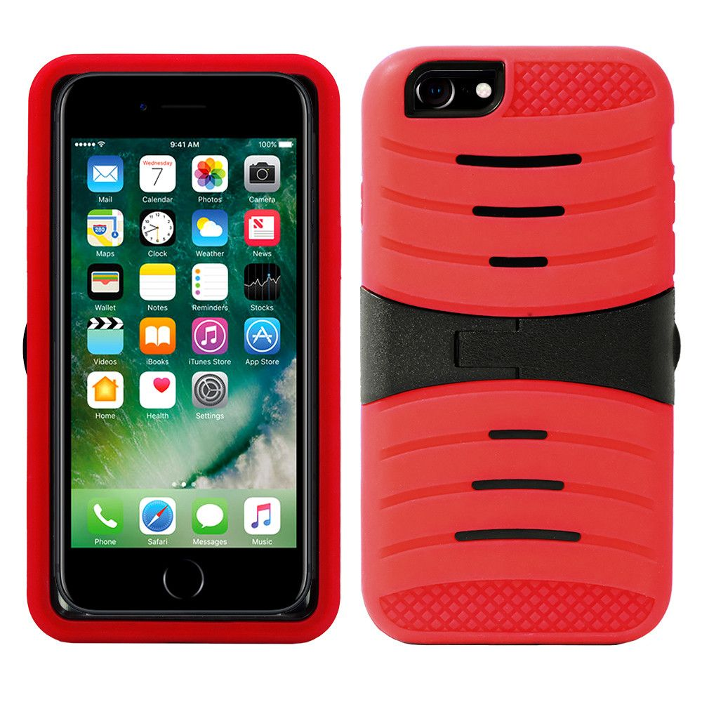 Apple iPhone 7 - Armor Guard Rugged Case with Kickstand, Red/Black
