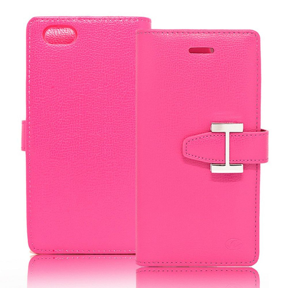 Apple iPhone 7 - Metal Buckle Design Multi-Card Compact Wallet Case, Hot Pink