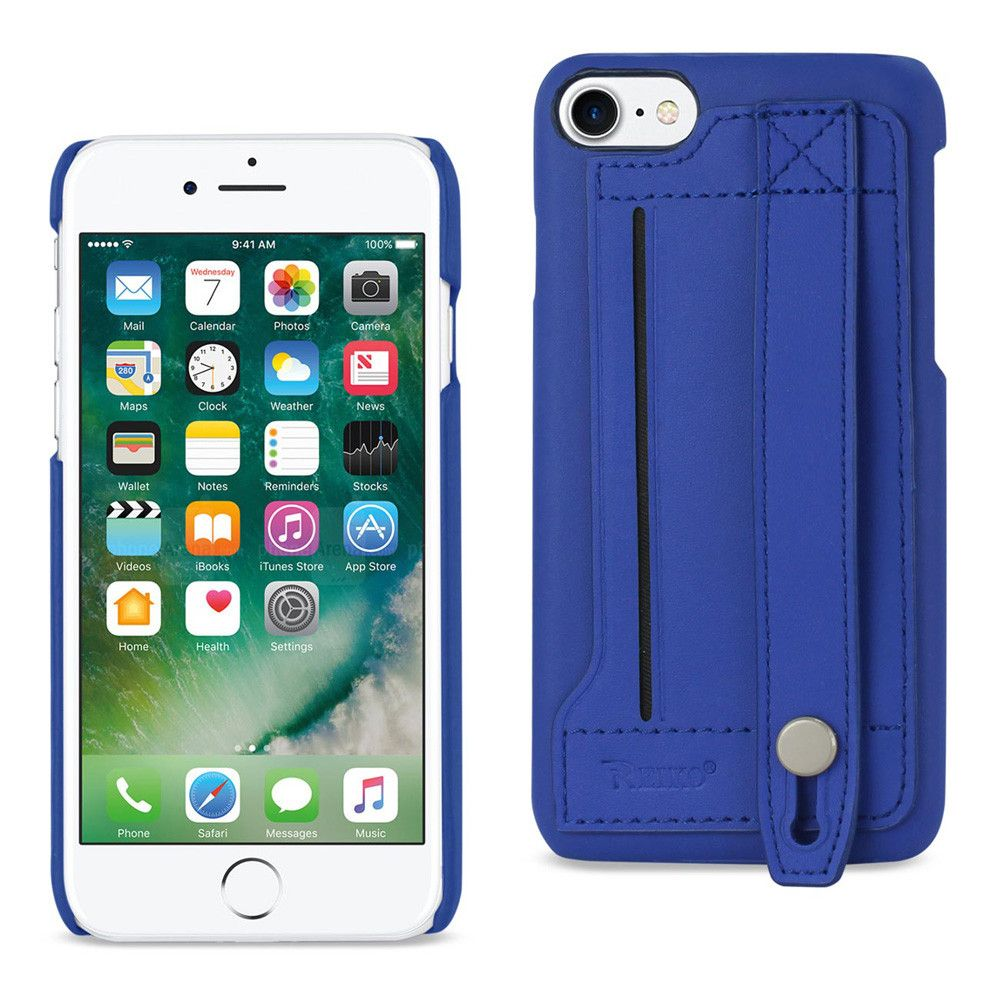 Apple iPhone 7 - Genuine Leather Case with Hand Strap and Card holder, Blue