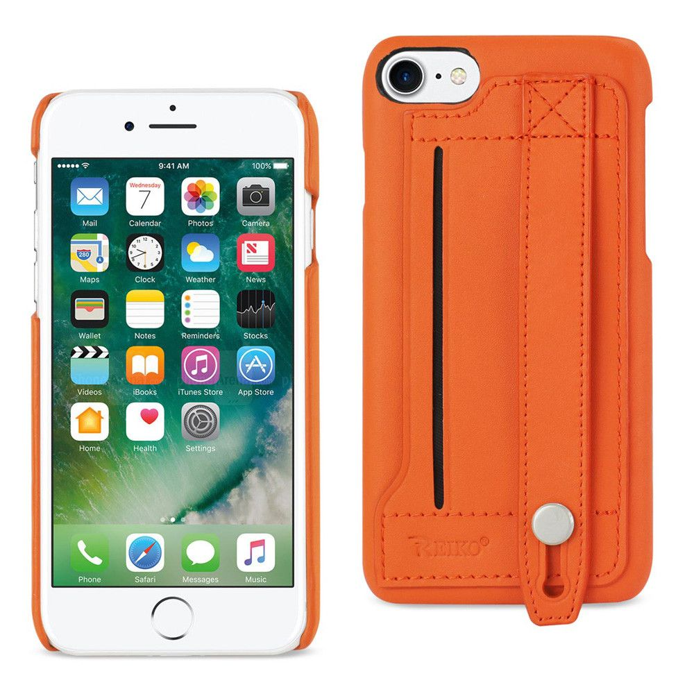 Apple iPhone 7 - Genuine Leather Case with Hand Strap and Card holdere, Tangerine