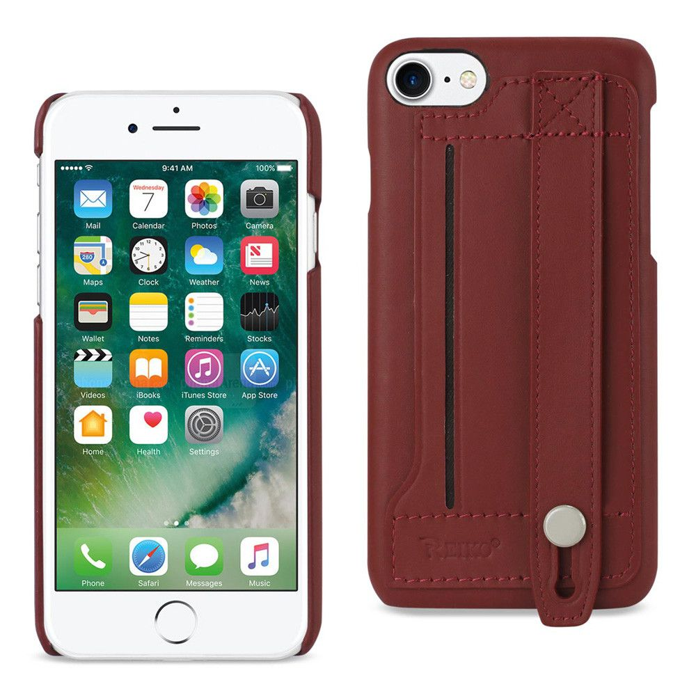 Apple iPhone 7 - Genuine Leather Case with Hand Strap and Card holder, Burgandy