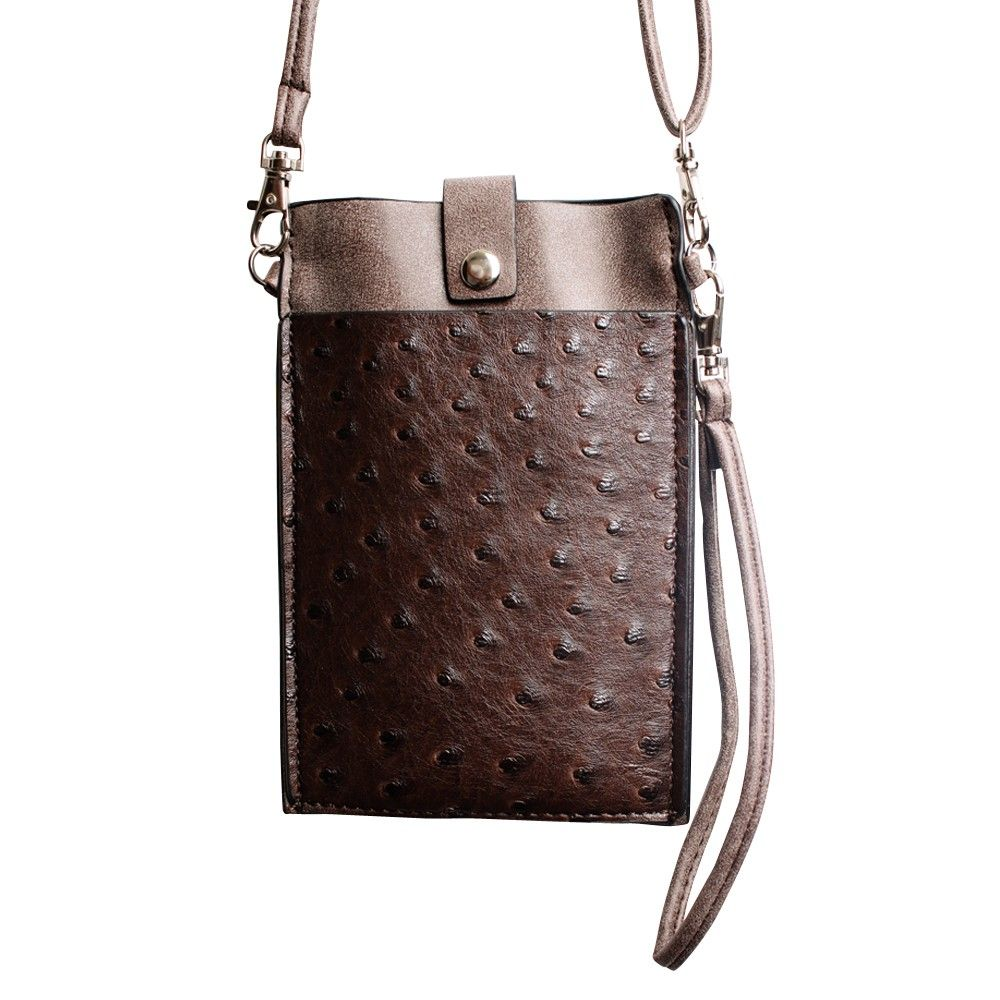 Apple iPhone 7 -  Top Buckle Crossbody bag with shoulder strap and wristlet, Brown