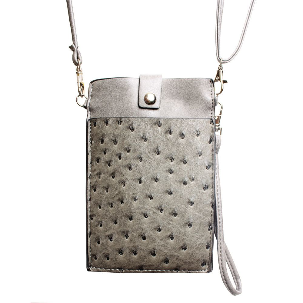 Apple iPhone 7 -  Top Buckle Crossbody bag with shoulder strap and wristlet, Gray