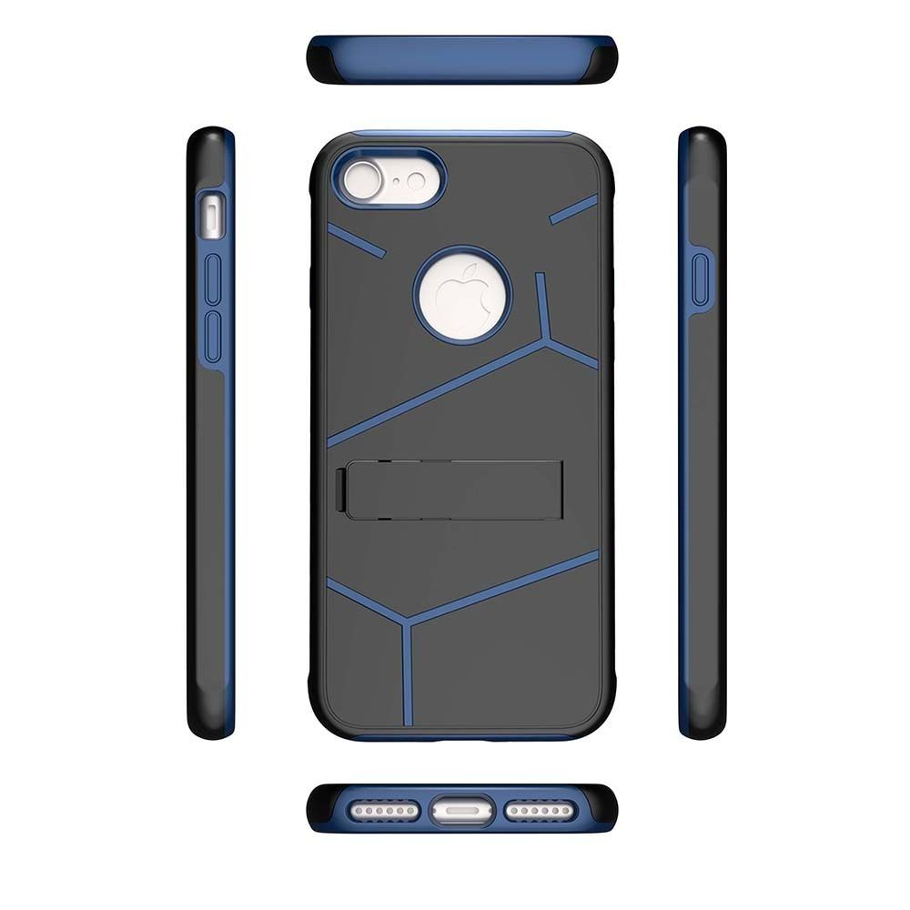 Apple iPhone 7 -  Helix Dual Layer Rugged Case with Stand, Black/Blue