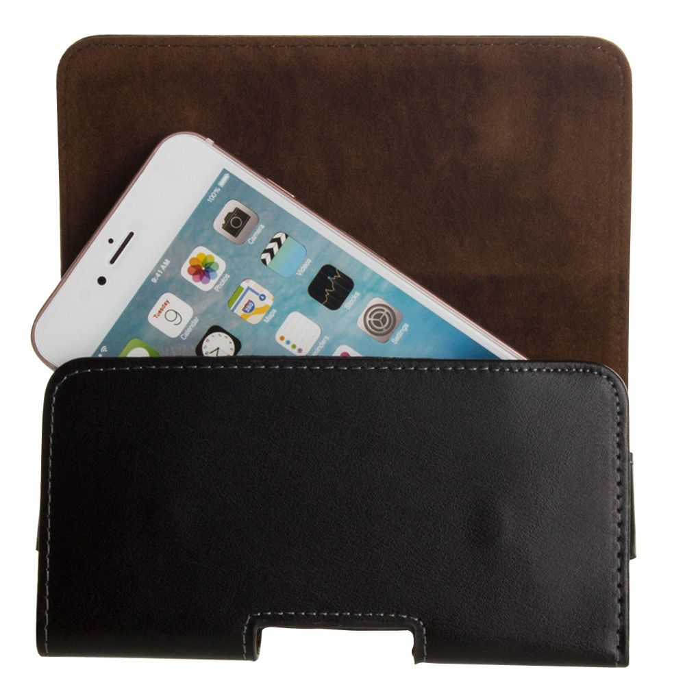 Apple iPhone 7 -  Genuine Leather Hand-Crafted Horizontal Carrying Pouch with Belt Clip, Black