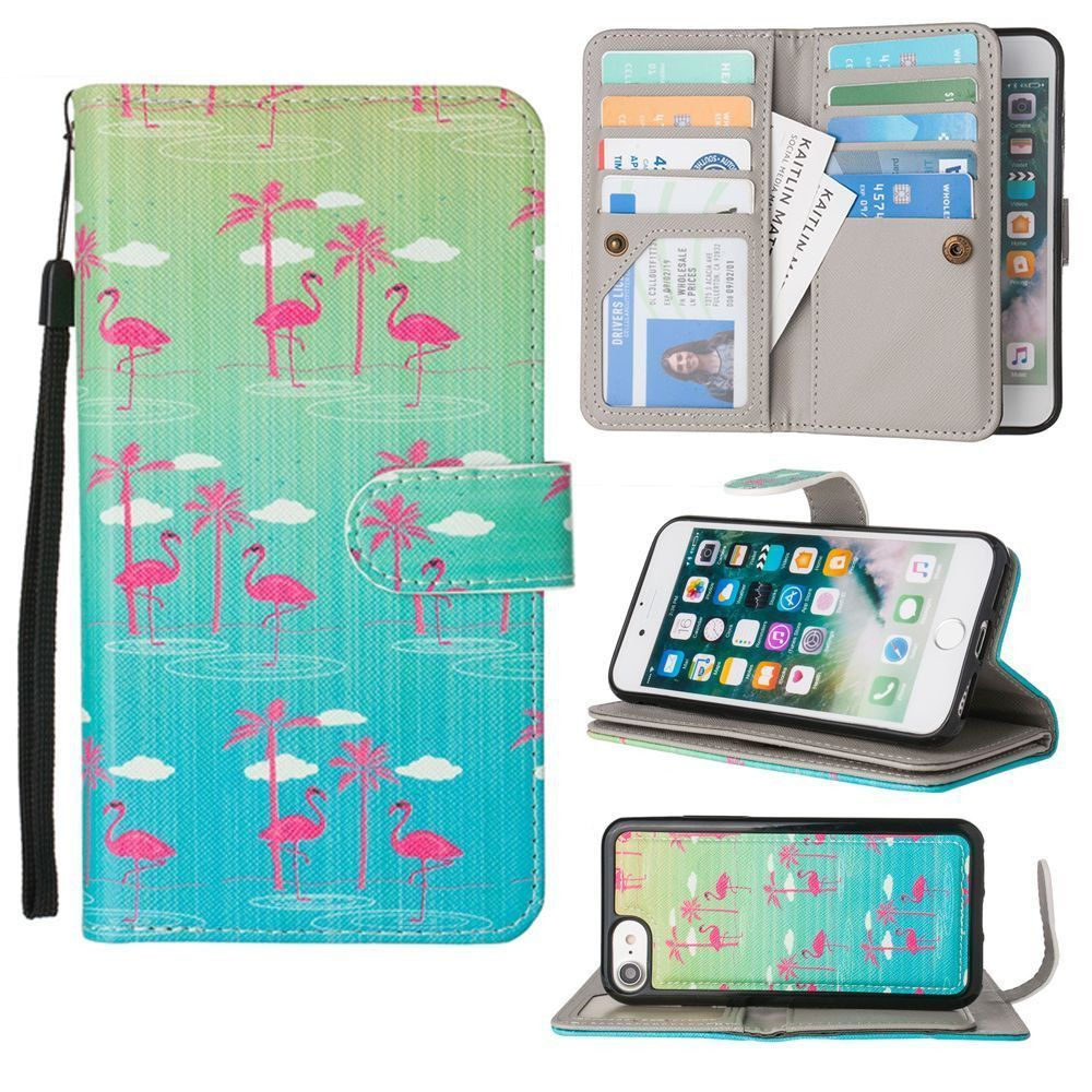Apple iPhone 7 -  Flamingo Paradise Multi-Card Wallet with Matching Detachable Slim Case and Wristlet, Green/Pink