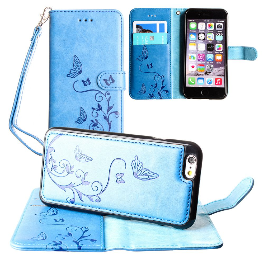 Apple iPhone 7 -  Embossed Butterfly Design Wallet Case with Detachable Matching Case and Wristlet, Teal Blue