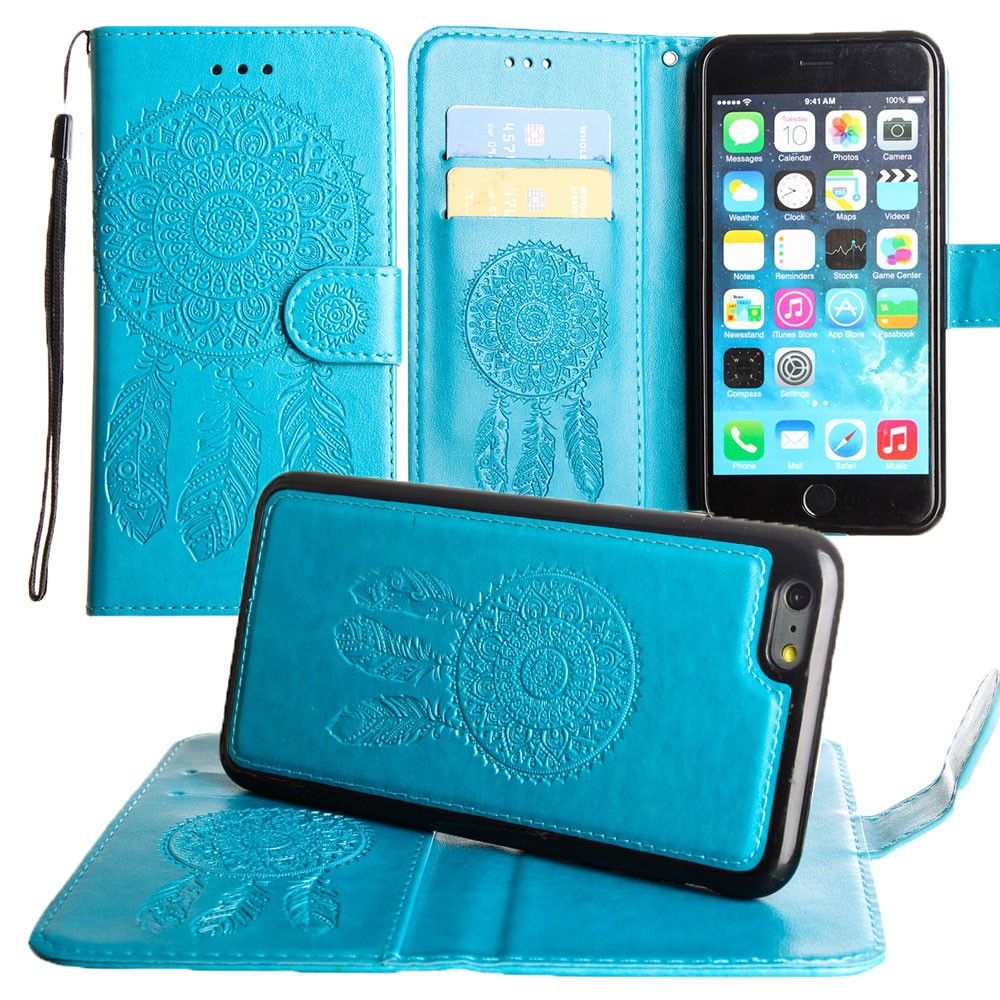 Apple iPhone 7 -  Embossed Dream Catcher Design Wallet Case with Detachable Matching Case and Wristlet, Teal