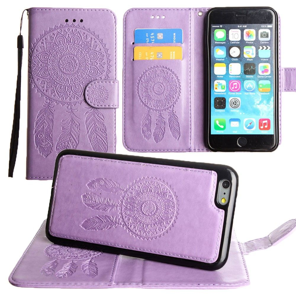 Apple iPhone 7 -  Embossed Dream Catcher Design Wallet Case with Detachable Matching Case and Wristlet, Lavender