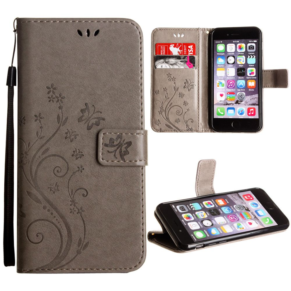 Apple iPhone 7 -  Embossed Butterfly Design Leather Folding Wallet Case with Wristlet, Gray