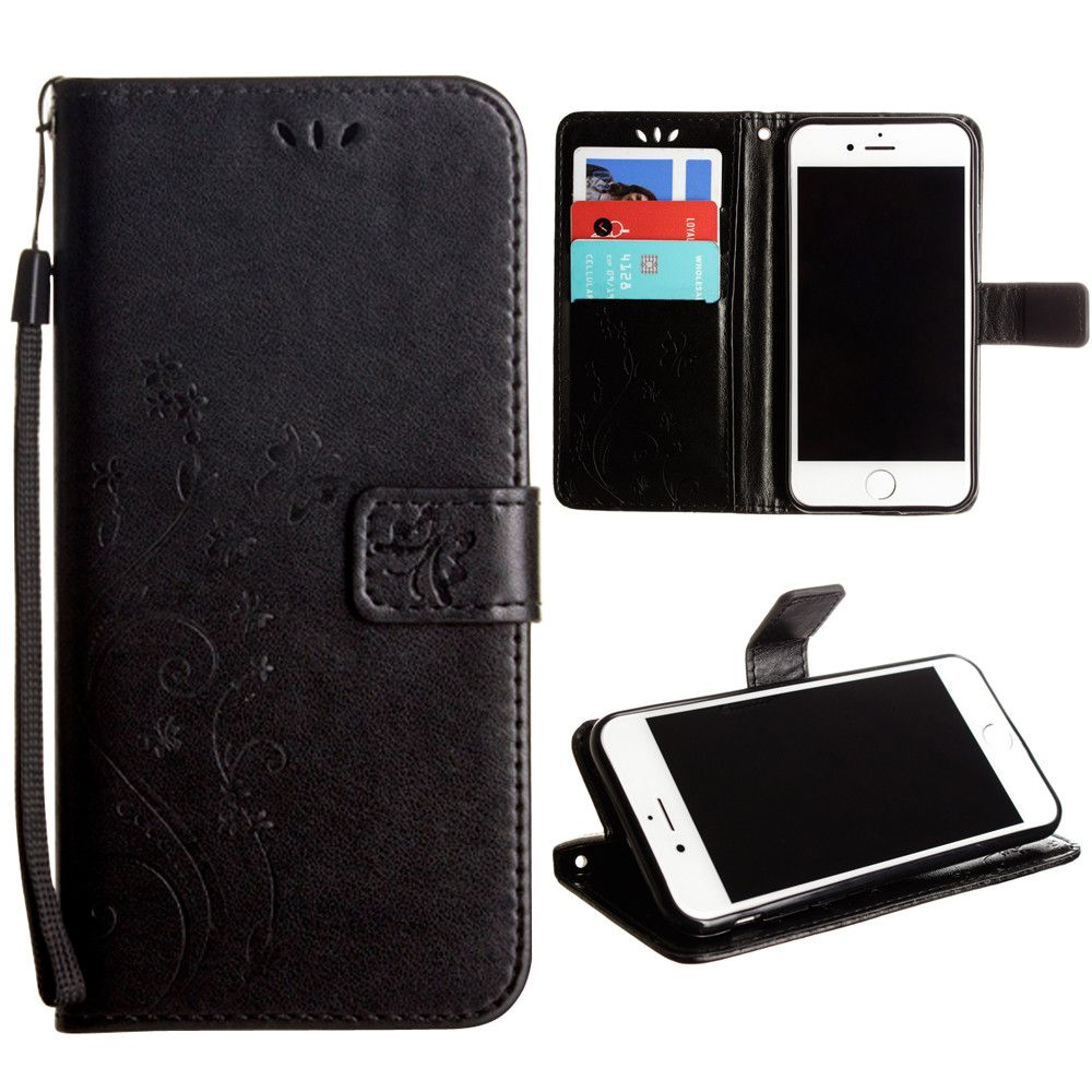 Apple iPhone 7 -  Embossed Butterfly Design Leather Folding Wallet Case with Wristlet, Black