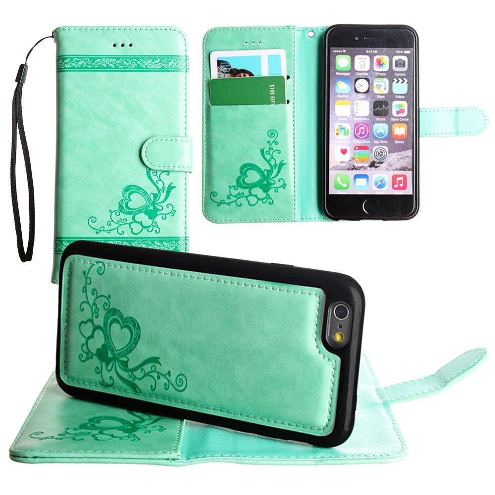 Apple iPhone 7 -  Embossed heart vine design wallet case with detachable matching case, Mint