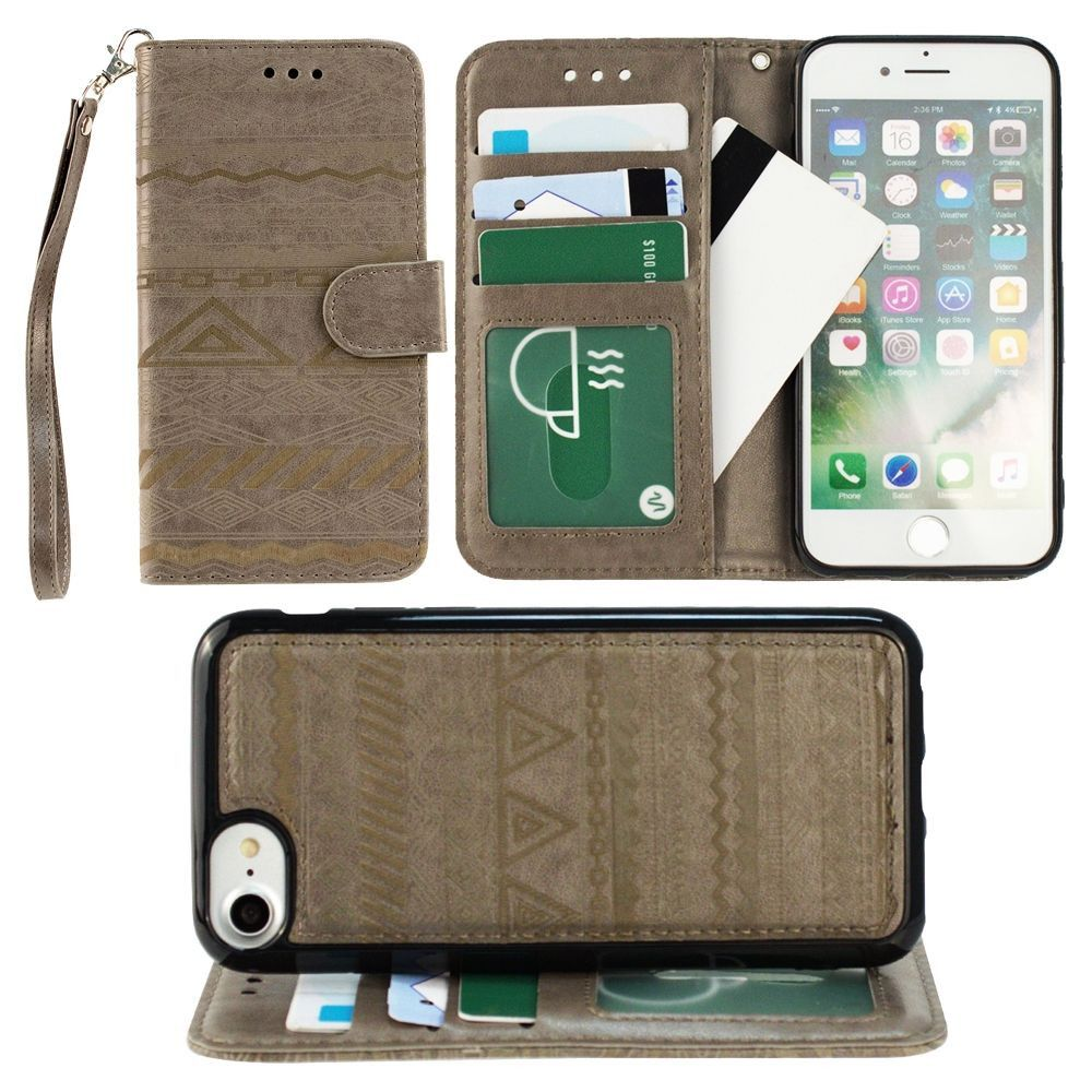 Apple iPhone 7 -  Aztec tribal laser-cut wallet with detachable matching slim case and wristlet, Gray