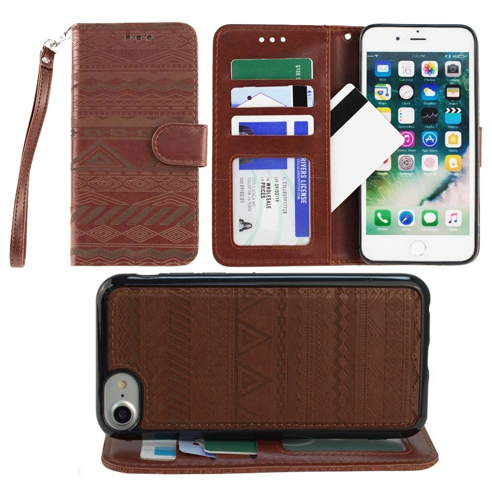 Apple iPhone 7 -  Aztec tribal laser-cut wallet with detachable matching slim case and wristlet, Maroon