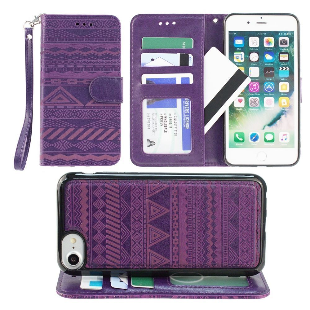 Apple iPhone 7 -  Aztec tribal laser-cut wallet with detachable matching slim case and wristlet, Purple
