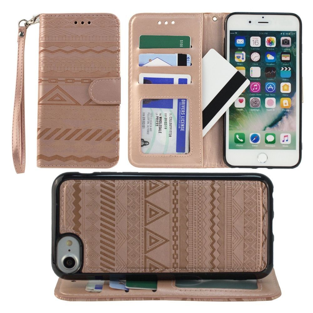 Apple iPhone 7 -  Aztec tribal laser-cut wallet with detachable matching slim case and wristlet, Rose Gold