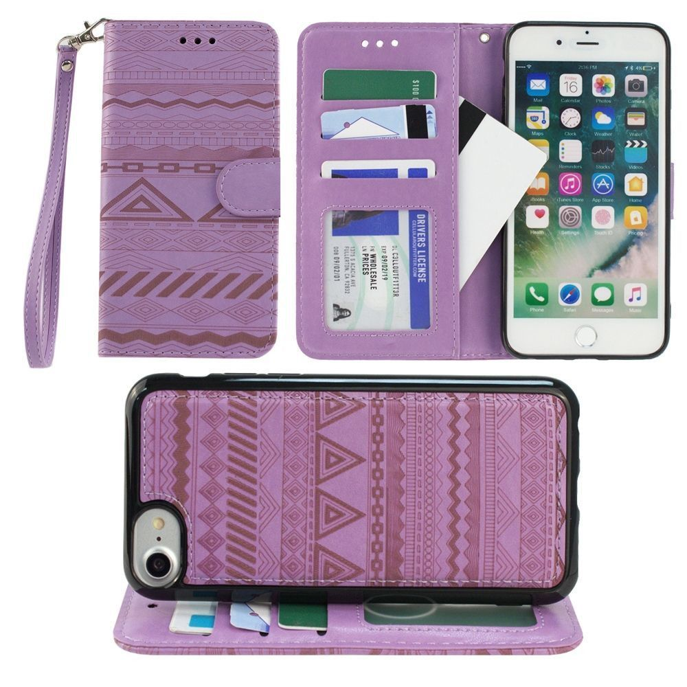 Apple iPhone 7 -  Aztec tribal laser-cut wallet with detachable matching slim case and wristlet, Lavender