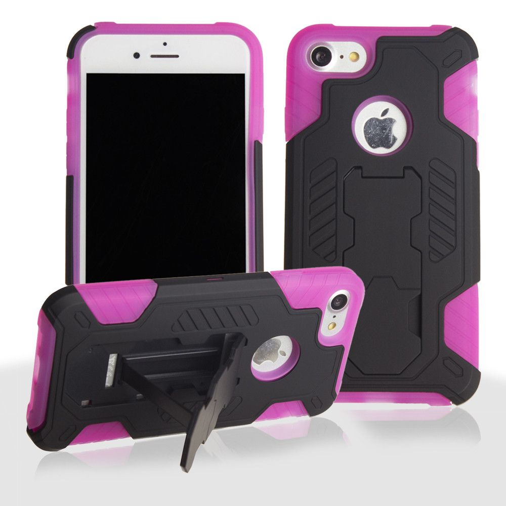 Apple iPhone 7 -  Mantas Heavy-Duty Rugged Case with Stand and Holster Combo, Black/Hot Pink