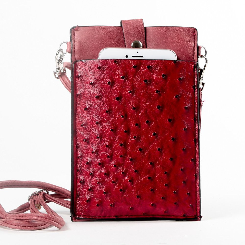 Apple iPhone 7 -  Top Buckle Crossbody bag with shoulder strap and wristlet, Red