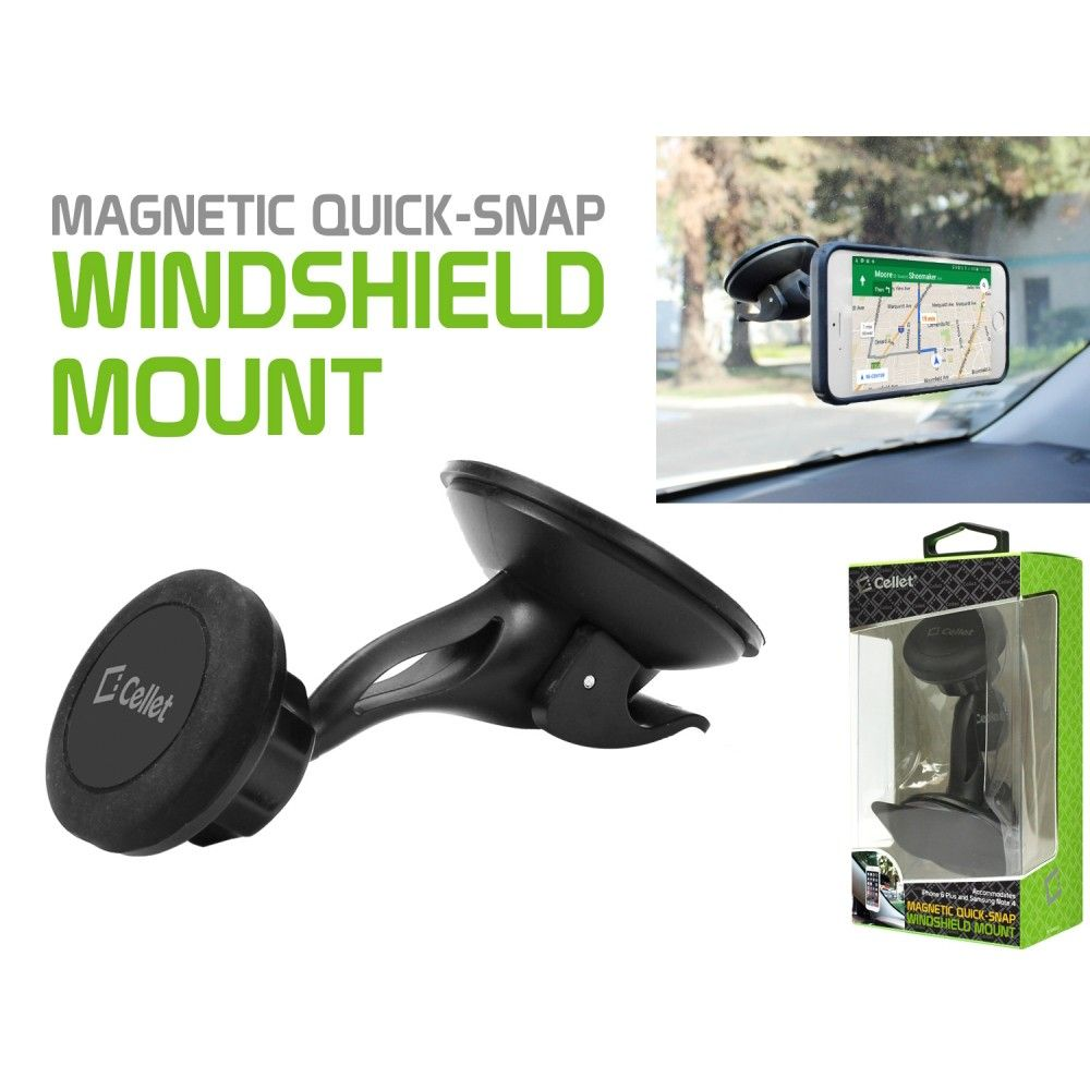 Apple iPhone 7 -  360 Degree Magnetic Quick-Snap Windshield and Car Dash Mount for Smartphones , Black