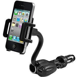 Apple iPhone 7 -  Cellet AC and USB Charging Car Holder, Black