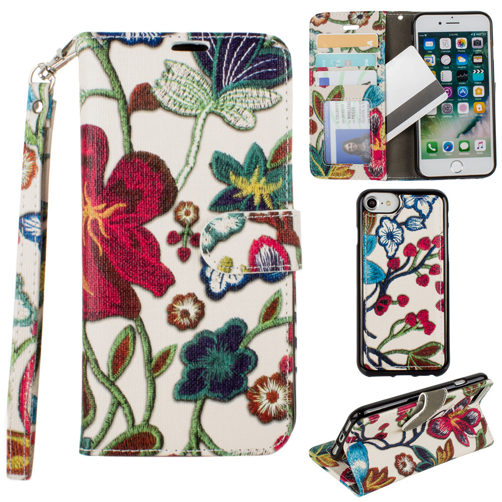 Apple iPhone 8 -  Faux Embroidery Printed Floral Wallet Case with detachable matching slim case and wristlet, Multi-Color
