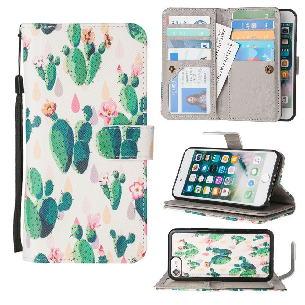 Apple iPhone 8 -  Blooming Cactus Multi-Card Wallet with Matching Detachable Slim Case and Wristlet, Green/White
