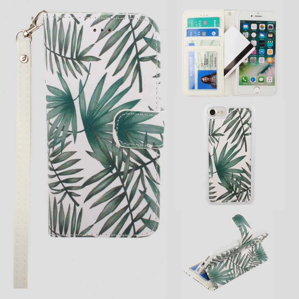 Apple iPhone 8 -  Palm Leaves Printed Wallet with Matching Detachable Slim Case and Wristlet, White/Green