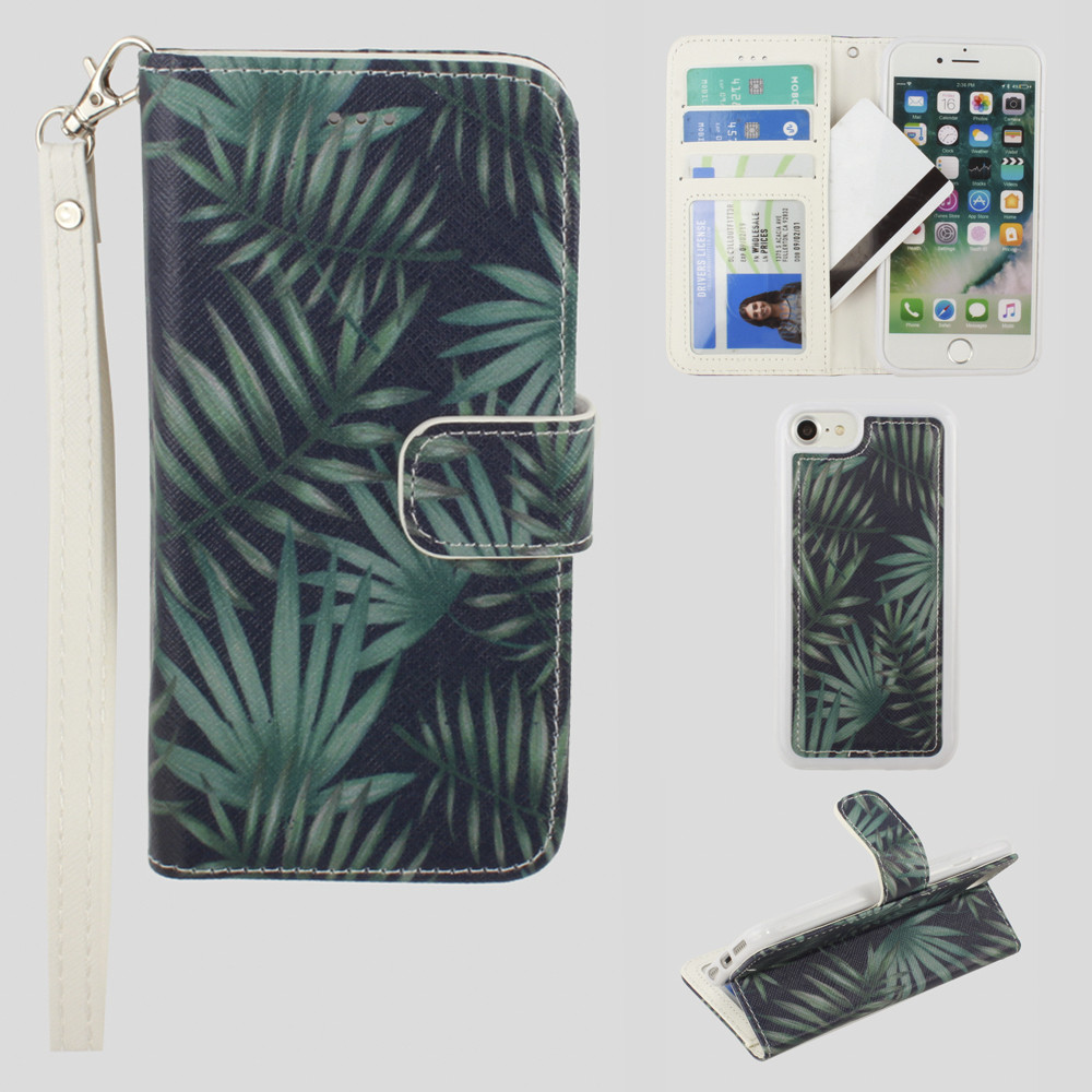 Apple iPhone 8 -  Palm Leaves Printed Wallet with Matching Detachable Slim Case and Wristlet, Navy Blue/Green