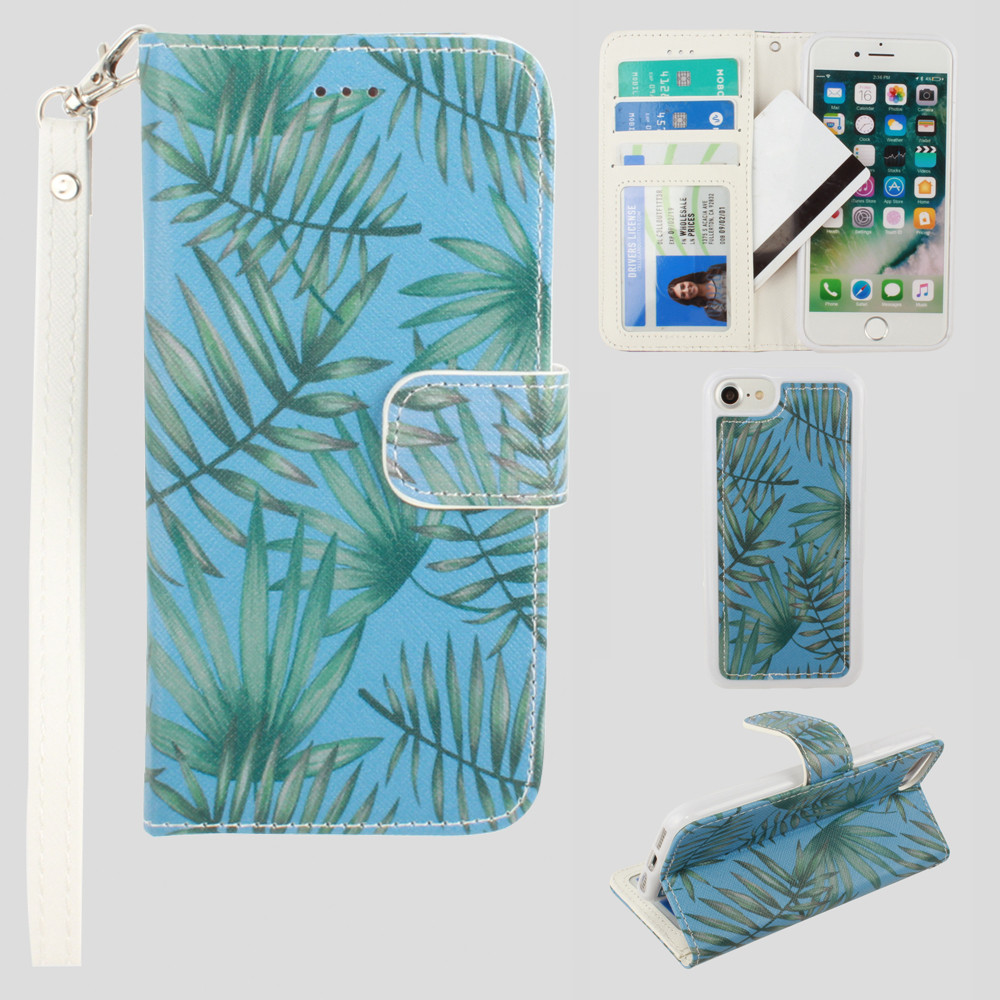 Apple iPhone 8 -  Palm Leaves Printed Wallet with Matching Detachable Slim Case and Wristlet, Light Blue/Green