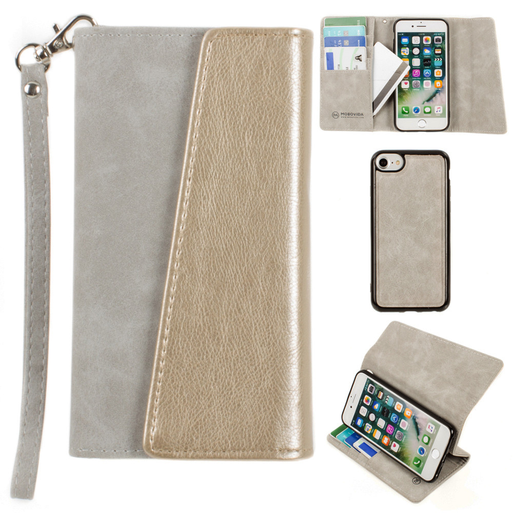 Apple iPhone 8 -  UltraSuede Metallic Color Block Flap Wallet with Matching detachable Case and strap, Gray/Gold