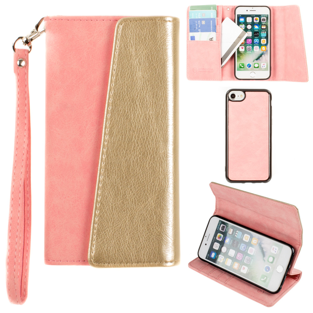 Apple iPhone 8 -  UltraSuede Metallic Color Block Flap Wallet with Matching detachable Case and strap, Pink/Gold