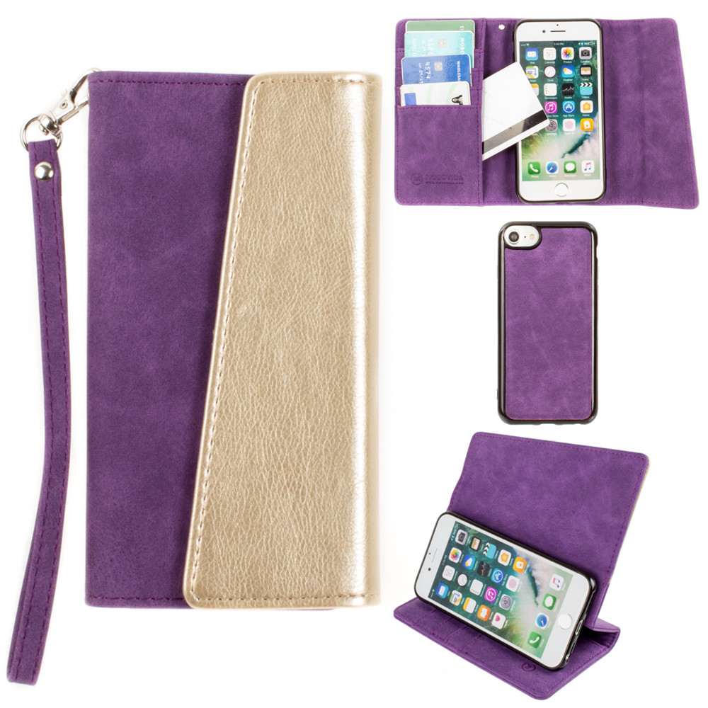 Apple iPhone 8 -  UltraSuede Metallic Color Block Flap Wallet with Matching detachable Case and strap, Purple/Gold