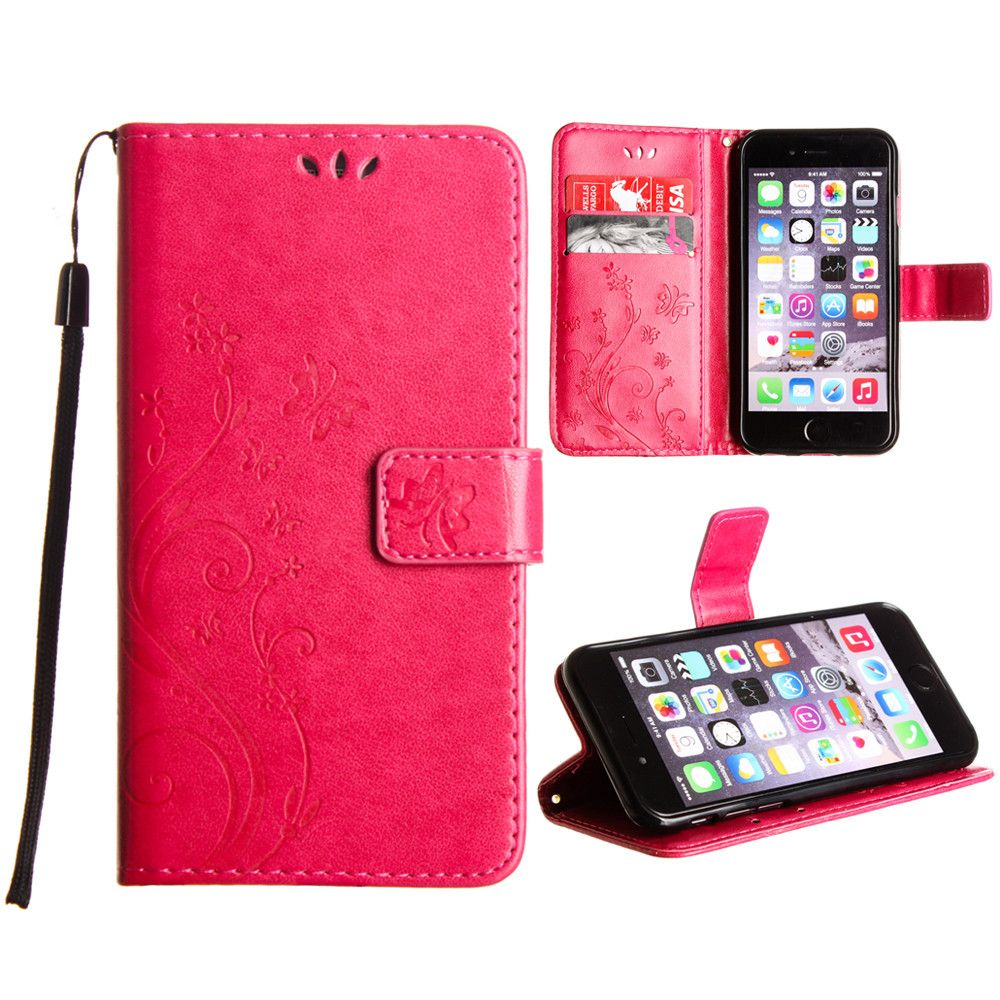Apple iPhone 8 -  Embossed Butterfly Design Leather Folding Wallet Case with Wristlet, Hot Pink