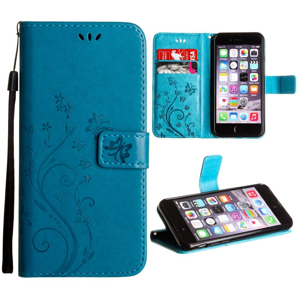 Apple iPhone 8 -  Embossed Butterfly Design Leather Folding Wallet Case with Wristlet, Teal