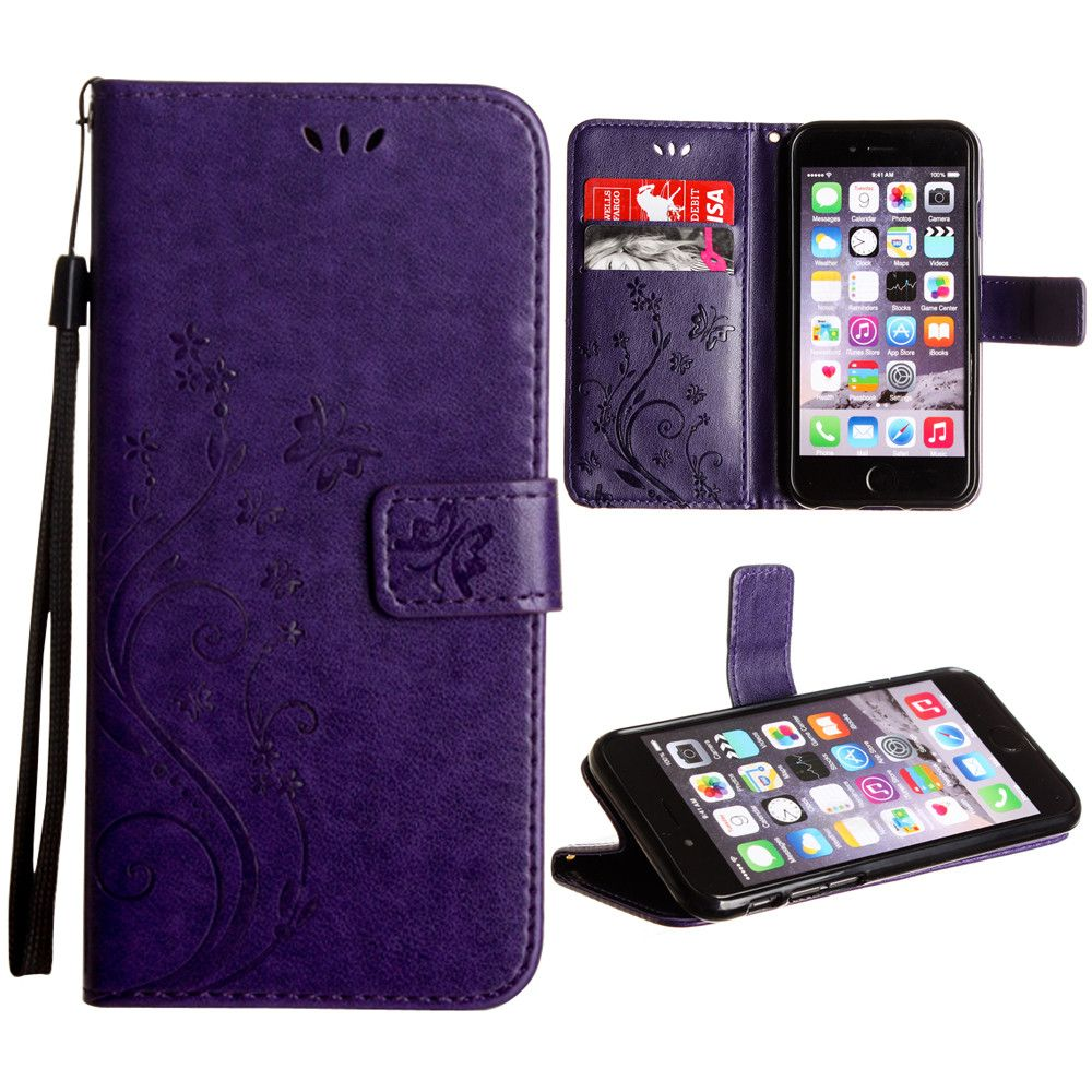 Apple iPhone 8 -  Embossed Butterfly Design Leather Folding Wallet Case with Wristlet, Purple
