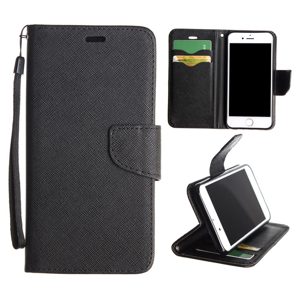 Apple iPhone 8 -  Premium 2 Tone Leather Folding Wallet Case, Black
